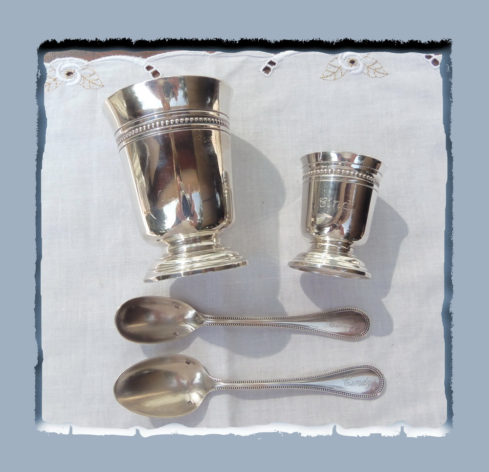 Mr silver plated christofle covered timbale eggcup spoons has sinking eggs - Timbale argent christofle ...