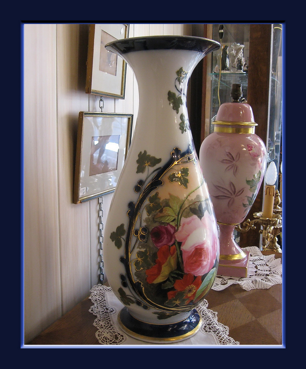 tres grand vase en porcelaine de valentine paris bayeux epoque xix siecle ebay. Black Bedroom Furniture Sets. Home Design Ideas