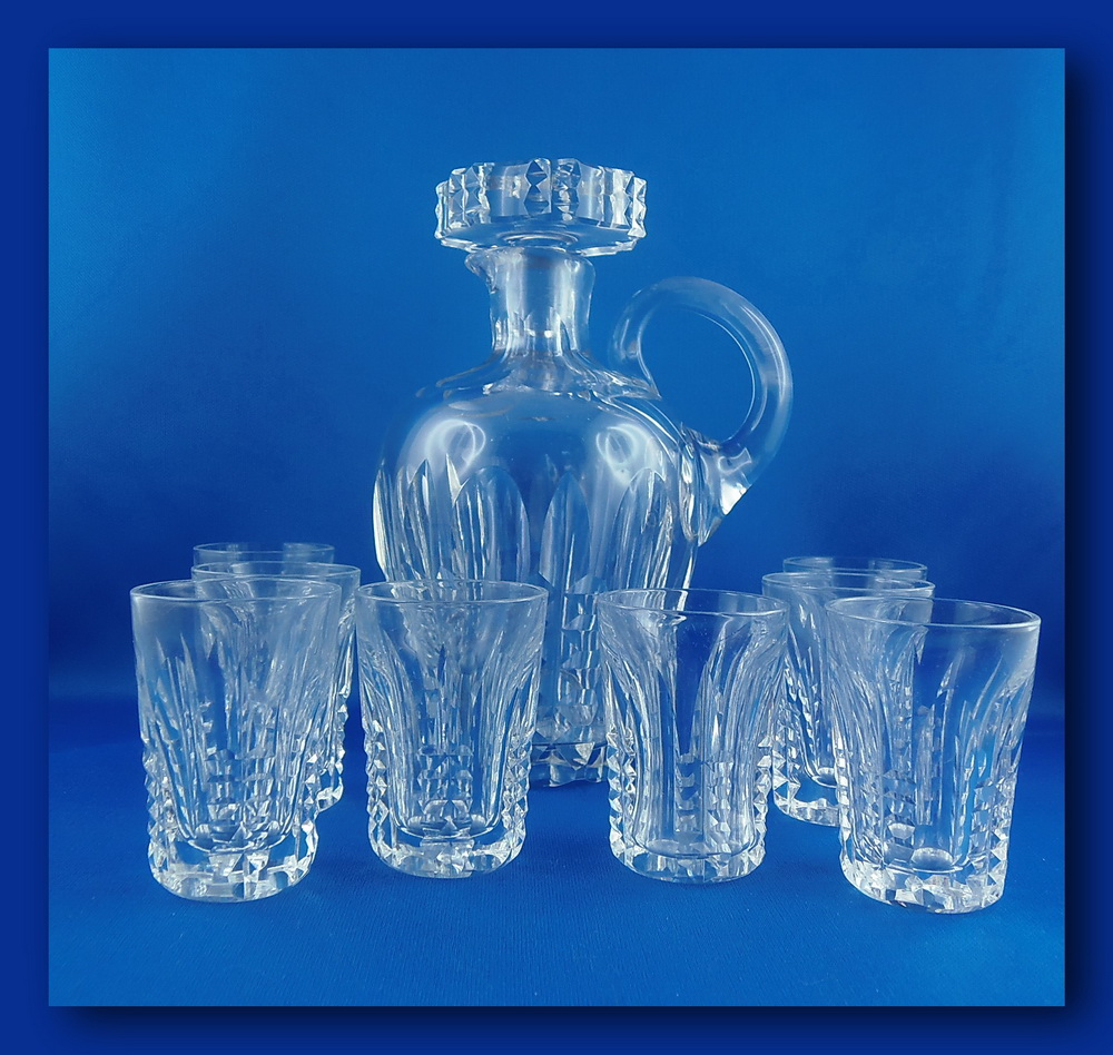 ancien service a liqueur pais cristal taill carafe 8 verres ebay. Black Bedroom Furniture Sets. Home Design Ideas